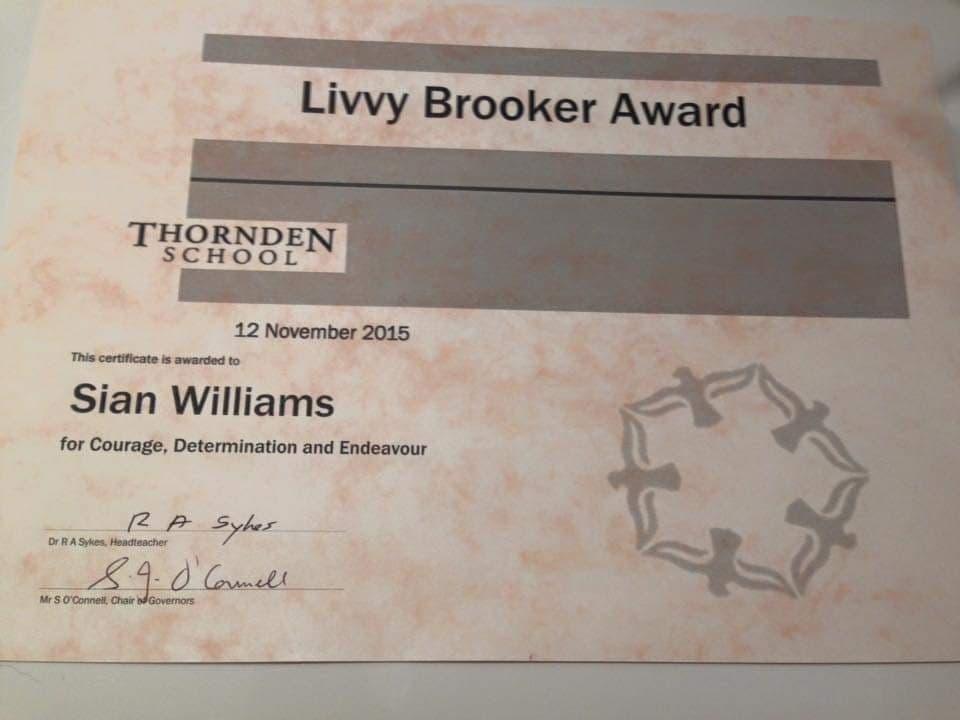 Livvy Brooker award certificate