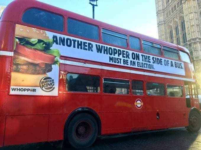 Whopper on the side of a bus