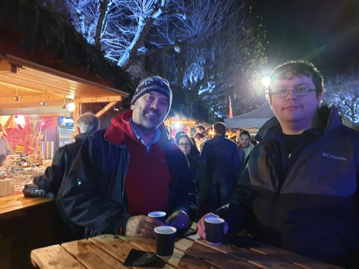 Martin and Ryan at the Vin Chaud