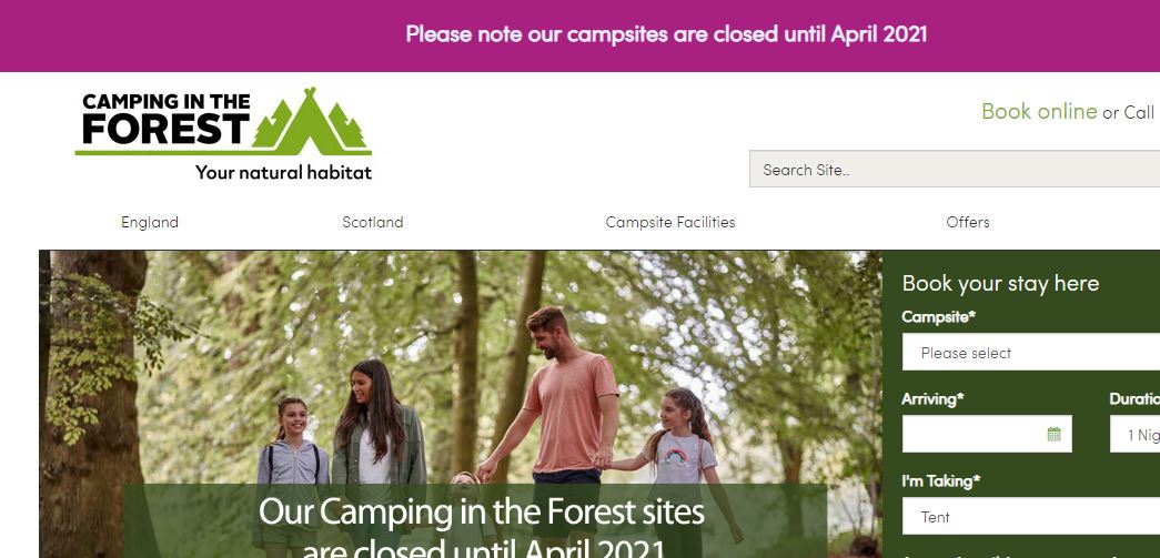Camping in the Forest sites closed