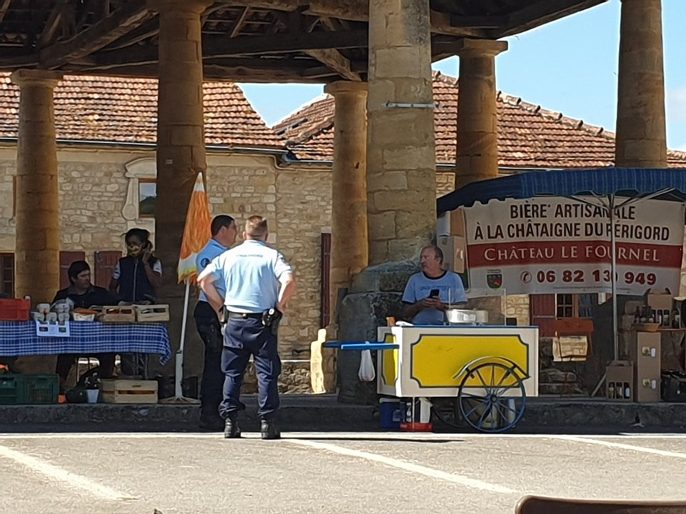 Gendarmes at the market